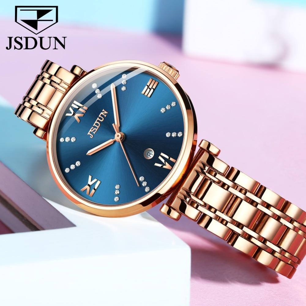 Montre femme automatique Date dames montres en or Rose en acier inoxydable mouvement à Quartz suisse bleu femme horloge étanche montre femme