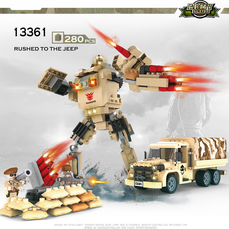 COGO Deformation Mech Educational Building Blocks Toys For Children Gifts Military Truck Robot Weapon Compatible Legoe 8 in 1 military ship building blocks toys for boys