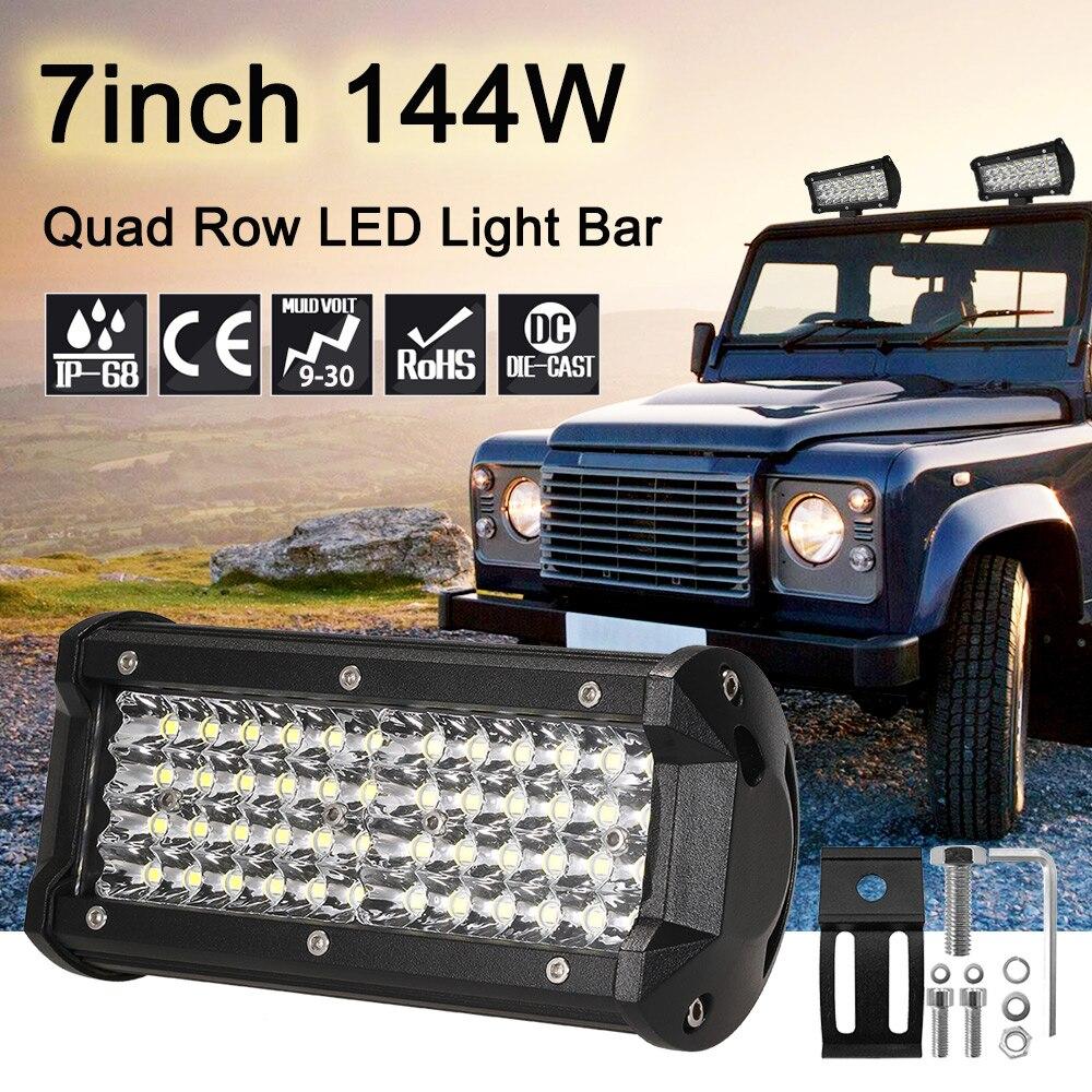 7 ''144 w Quad Rangée LED Light Bar lampe de Travail Bar Spot Brouillard feux de Route Lampe pour Voiture Jeep SUV ATV Bateau 9-30 v 6000 k 19600LM
