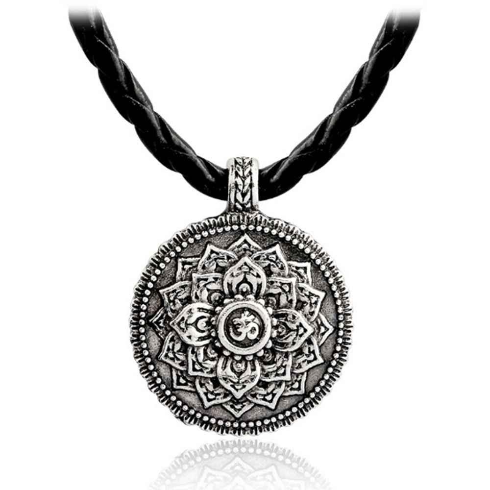 1 pcs Retro Tibet Colar De Tibet Mandala amuleto pingente de Colar geometria jóias Religiosas Espiritual