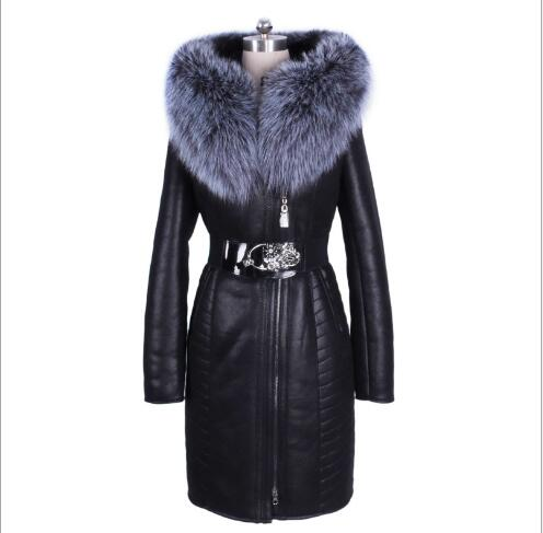 Women Winter Coat 2018 New Long Section Slim Fit Faux   Leather   Jacket Female Outwear Big Fur Collar Long Sleeve Oversize Overcoat