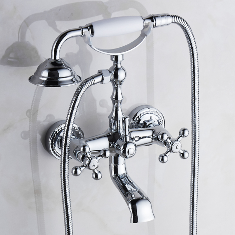 Shower Faucets Bathtub Faucets Brass Chrome Silver Floor Stand Bathroom Faucet Rain Handheld Shower Luxury Telephone Bath Mixerr Taps 2019 Official