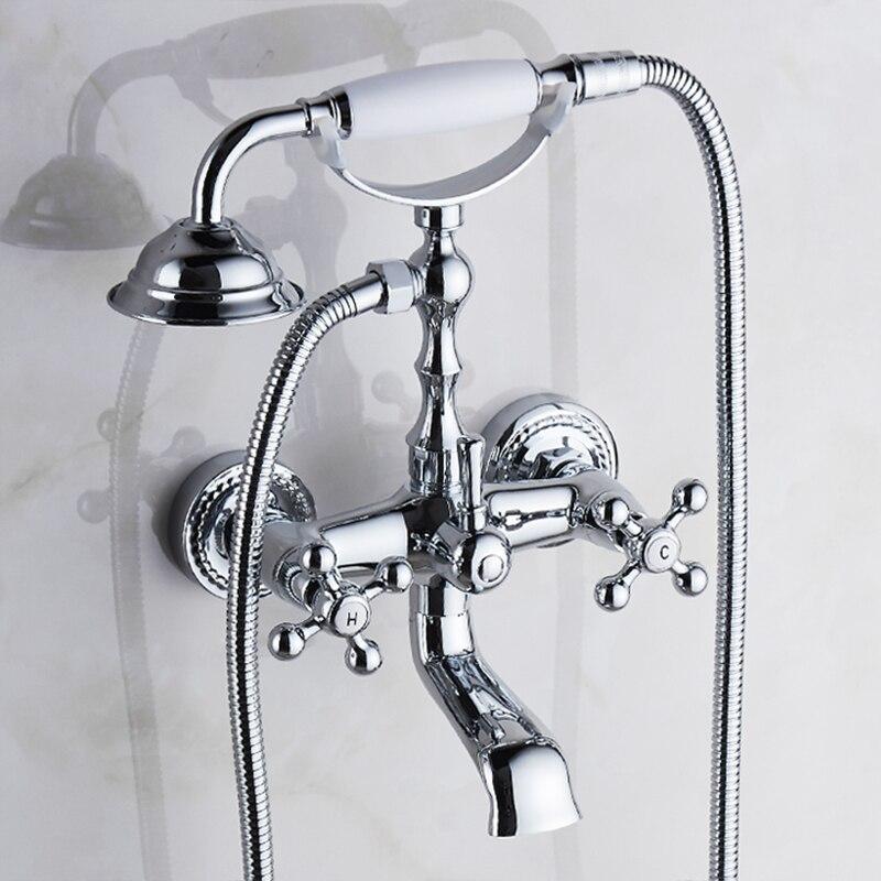 Robinet de baignoire en laiton chromé bain douche ensemble argent montage mural pluie douche robinets salle de bains douche mélangeur robinet ensemble torneiras G021