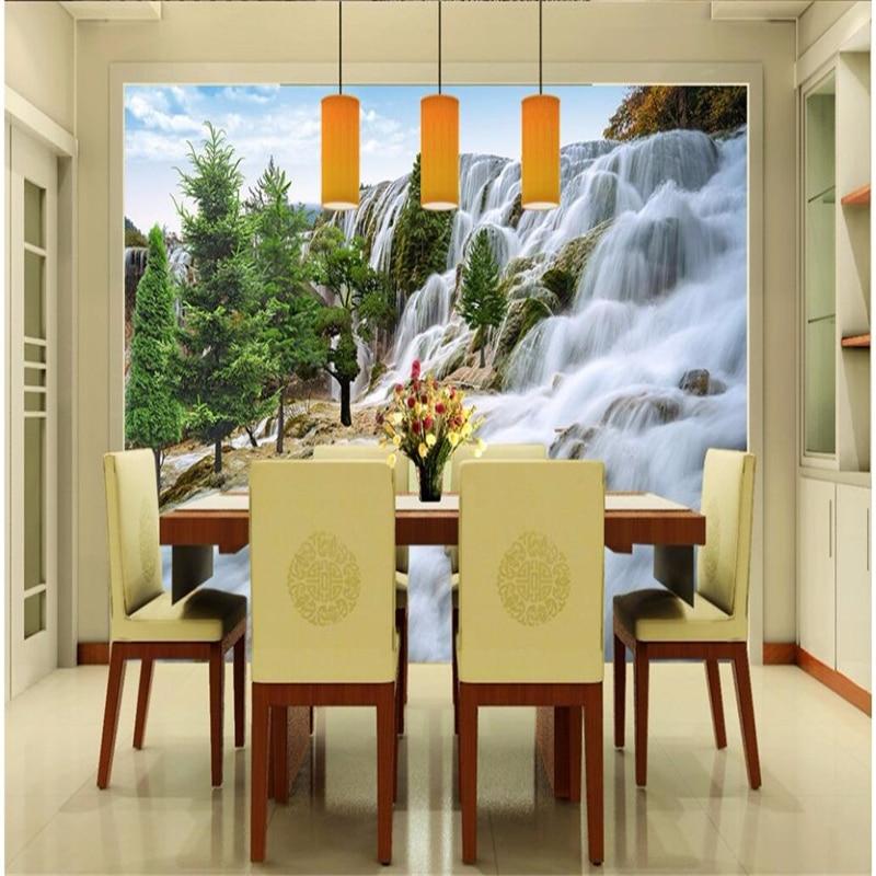 Beibehang dessin grand Rocky Mountain cascade art photo fond ...