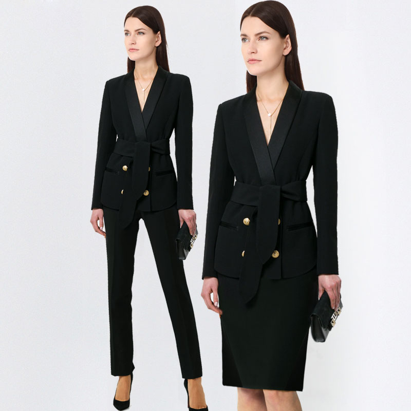 New Fashion Women Business Pant Suits Formal Office Work Plus Size Slim Long-sleeve Blazer And Pants Trousers Set
