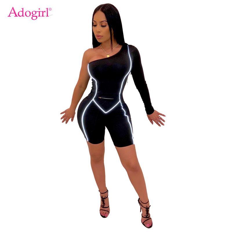 Adogirl One Shoulder Reflective Bandage Jumpsuit Women Sexy Long Sleeve Slim Romper Shorts Playsuit Night Club Bodysuit Overall
