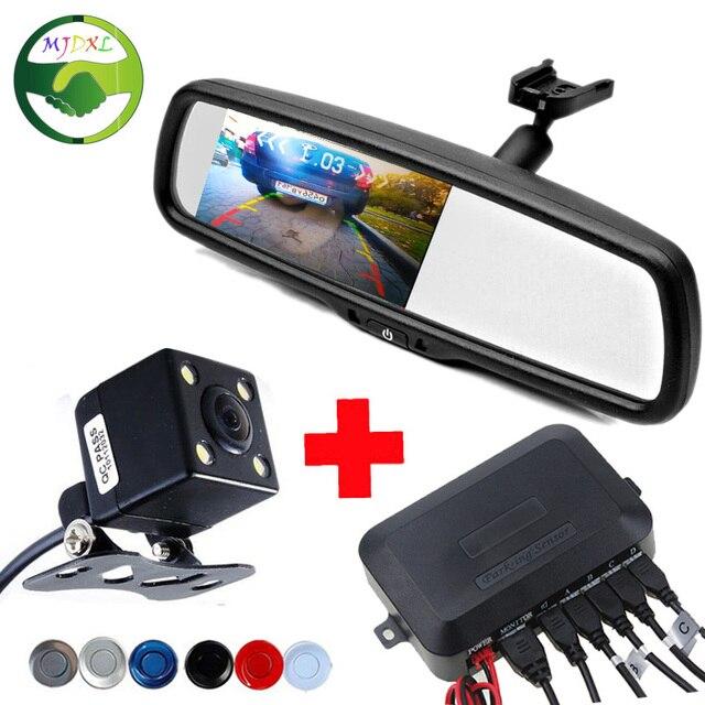 Dual Core CPU 4.3 inch Car Rear View Mirror Parking Monitor With Bracket + Rear View Camera+ Car Video Parking Sensor 4 Sensors