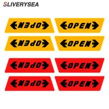 SLIVERYSEA 4pcs/set Reflective Open Sticker Door Warning Safety Car Styling Auto Decor