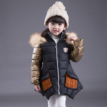 Fashion Winter Parkas Girl Clothing Fur Collar Hooded Coats Doudoune Enfants Thick Warm Long Down Jacket