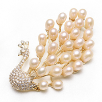 Natural Real Pink White Freshwater Pearl Brooch Peacock Rhinestone CZ Cubic Zircon Princess Wedding Bridal Scarf Buckle Brooches