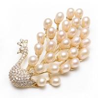Natural Real Pink White Freshwater Pearl Brooch Peacock Rhinestone CZ Cubic Zircon Princess Wedding Bridal Scarf