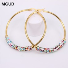 MGUB 30-60MM New Design Fashion Charm crystal hoop earrings Geometric Round Shiny rhinestone big earring jewelry women LH625(China)
