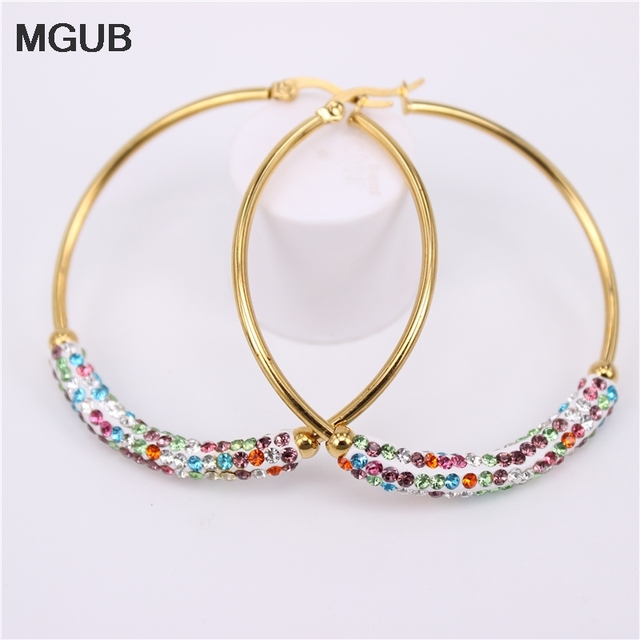 MGUB 30-60MM New Design Fashion Charm crystal hoop earrings Geometric Round Shiny rhinestone big earring jewelry women LH625