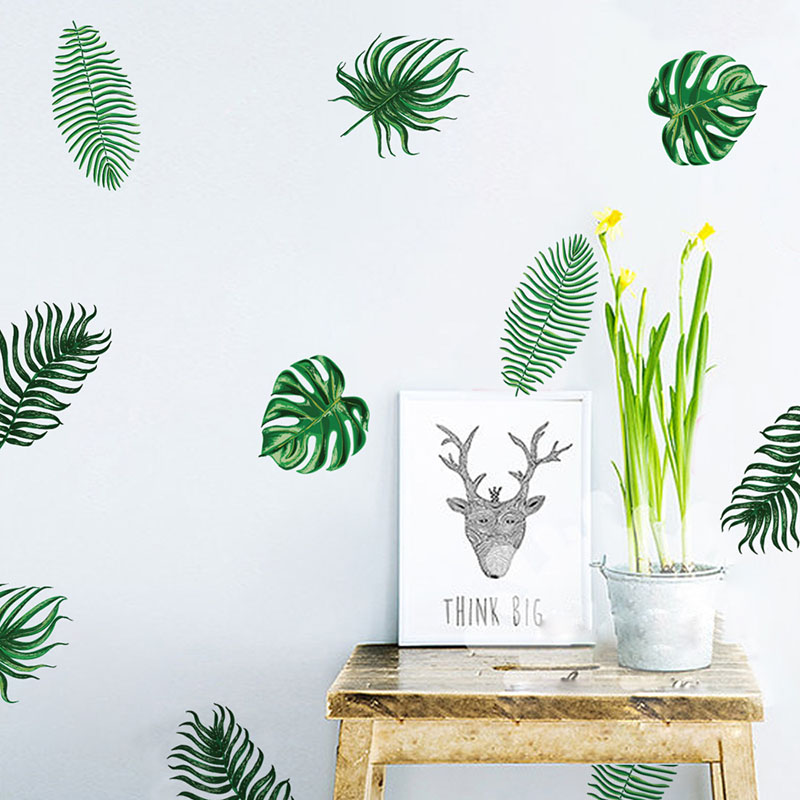 New 6 sheets 24 PCs PVC Watercolor ferns Decals Palm leaves DIY Decorative Wall Stickers Poster for Home Decors Peel & Stick