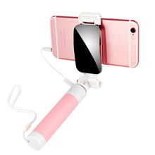Portable Mini Wired Folding Mirror Selfie Stick Tripod Phone Monopod Selfiestick