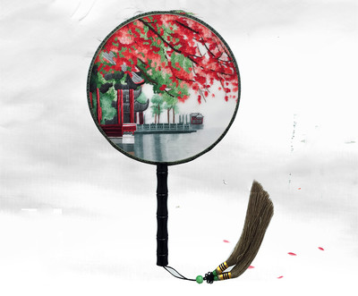 Ev ve Bahçe'ten Dekoratif Fanlar'de Yuvarlak Çin Dekoratif Dut Ipek El Fan El Çift taraflı Suzhou Nakış Zanaat Fan Kadın Abanoz Kolu Fan Lüks hediye'da  Grup 1