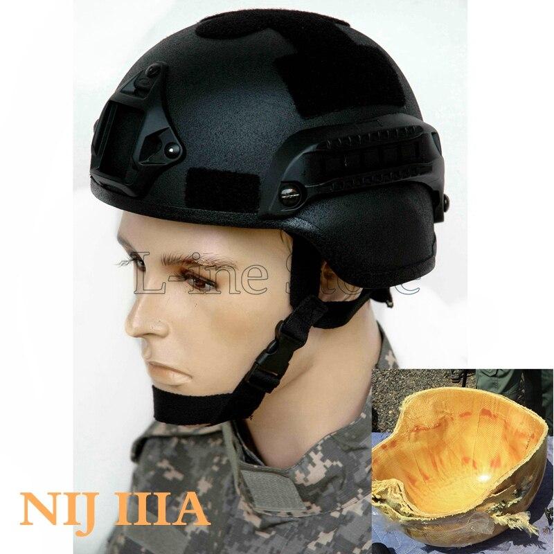 Tactical Ballistic Helmet MICH 2000 NIJ IIIA Kevlar Bulletproof Helmet Black fast ballistic helmet rapid response tactical helmet mc fg at tan aor1 digital desert bk woodland atfg acu