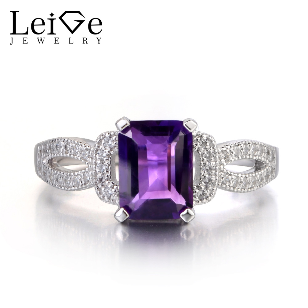 Leige Jewelry Natural Amethyst Ring Emerald Cut Wedding Engagement Rings for Women 925 Sterling Silver Purple Gemstone leige jewelry natural amethyst ring purple gemstone oval shaped wedding engagement rings for women sterling silver 925 jewelry
