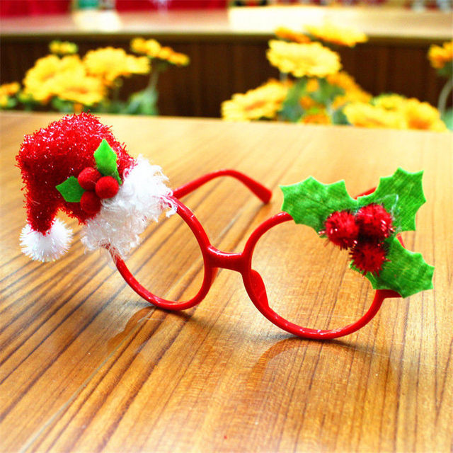 Snowman Santa Claus Christmas Glasses Ornament for Christmas Party Favors Kids Gift Xmas Decoration