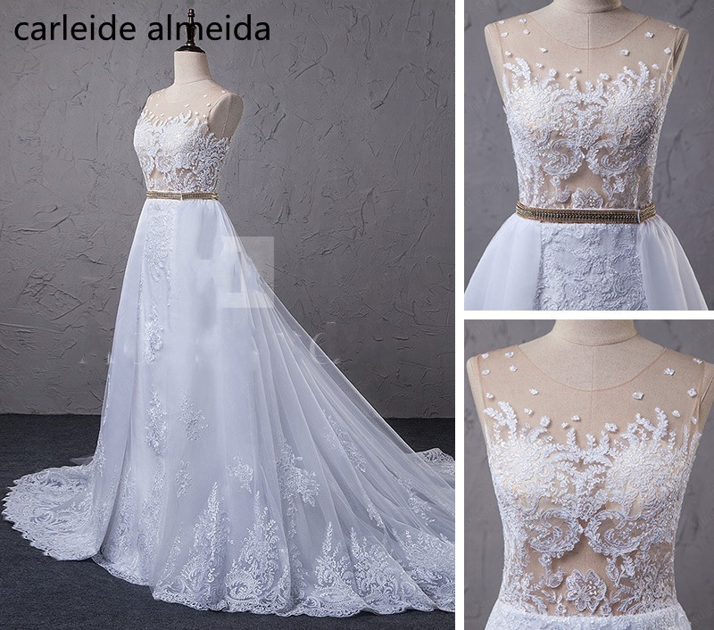 Vestido de Noiva See-through Bodice 2 in 1 Mermaid Wedding Dresses with Detachable Skirt Abito da sposa Lace Appliques Boda