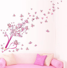 ZOOYOO  Flowers Butterfly Pen Love Heart Wall Stickers Bedroom Girls Room Home Decor 3D Vinyl Wall Decal Removeable Wallpaper
