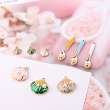 10pcs Pearl Seashell Spoon Enamel Charms Oil Drop Metal Pendants Floating Earrings DIY Jewelry Accessories FX014