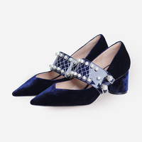 2018 Autumn new buckle strap women pumps velvet pointed toe shallow high heels black blue chunky heel peal Mary Jane shoes