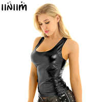 iiniim Womens Fashion Clubwear Punk Dance Tanks Tops Shiny Metallic U Neck Racer Back Slim Fit Summer Camisole Tank Top Vest Top