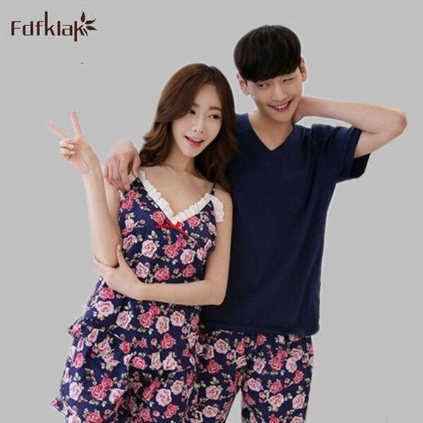 bac31f07f7 Summer cotton man s and women s pajamas set flower print couples pijamas  plus size ladies nightwear pyjamas