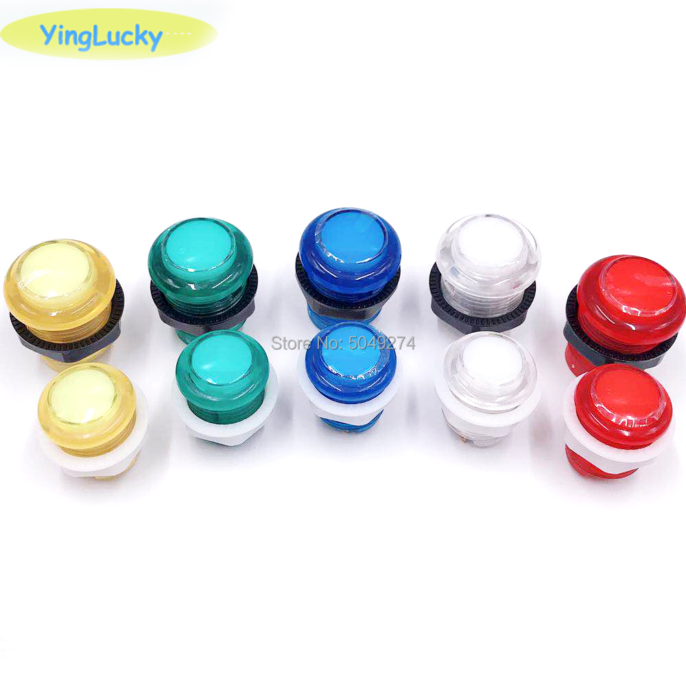 24mm Push Button Arcade Button Led Micro Switch 5V/12V Power Button Switch Set Green/Yellow/Red/White/Blue(China)