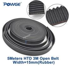 Belt Pulley Open-Timing-Belt Rubber 15mm Arc HTD3M 3m-15mm-Width POWGE CNC Length Fiberglass