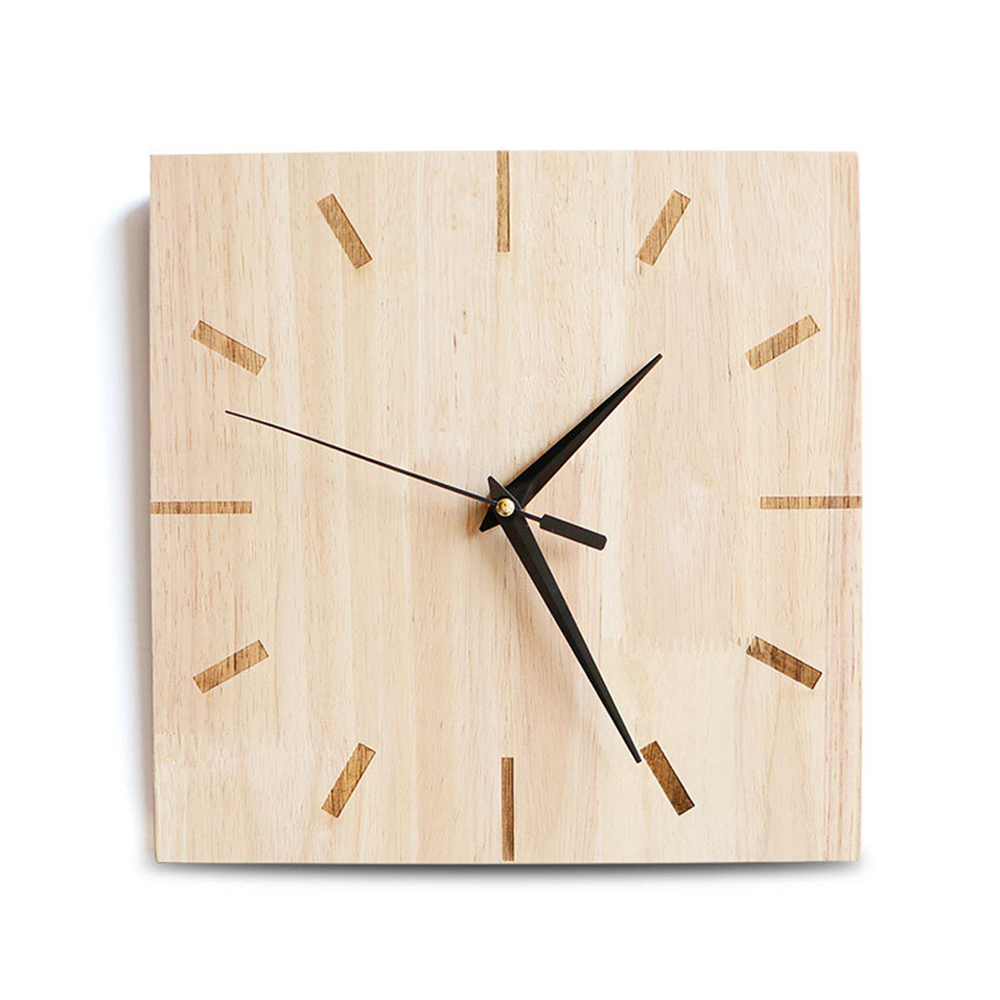 Simple Nordic Mute Needle Square Wall Clock Home Wooden Geometric Wall Clock Bedroom Living Room Decor Hanging Clock