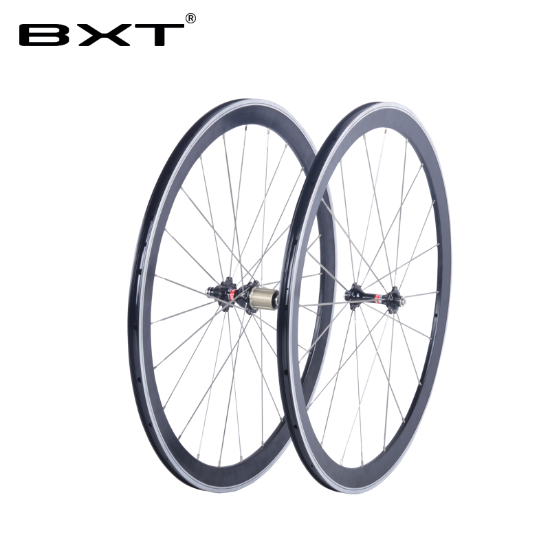 2017 BXT 700C V-brake alloy wheels NO carbon road bicycle aluminium clincher road wheelset novatec hub chinese bicycle wheels gub aluminum v brake road bike wheels 42mm cheap wheels with alloy brake surface clincher wheelset 700c 10 11speed compatible