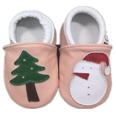 2018 Christmas gift genuine leather baby moccasins shoes Newborn boys and girls shoes lovely first walkers soft bottom