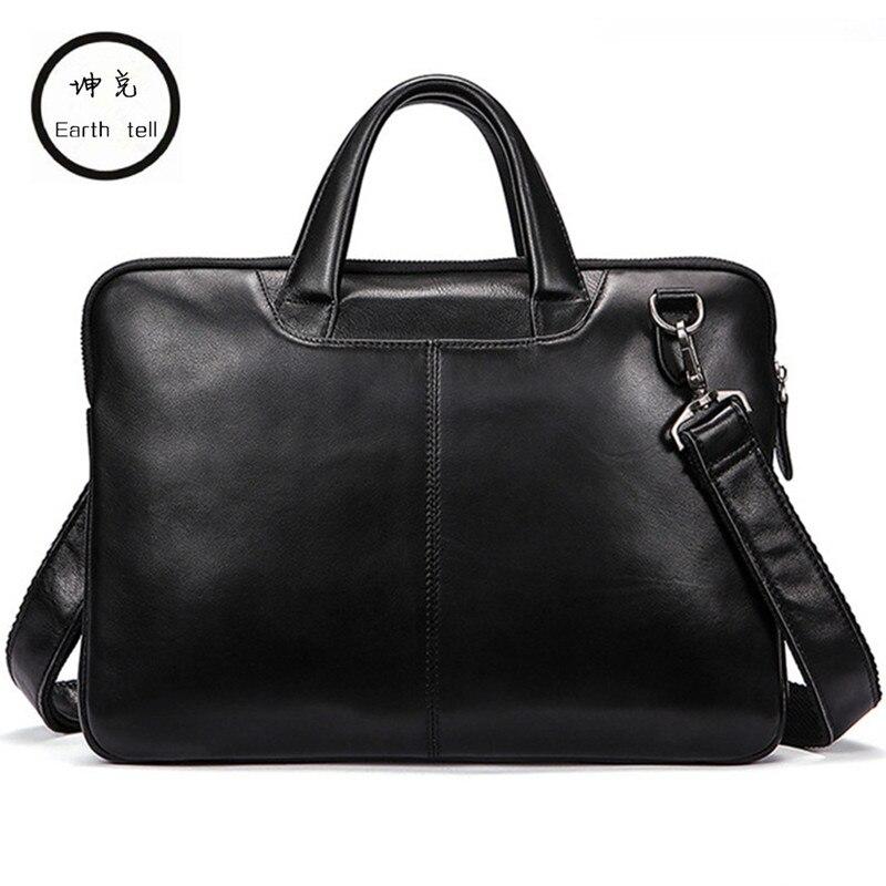 где купить Famous Brand New Design Men's Genuine Leather Briefcase Satchel Bags For Men Business Fashion Shoulder Messenger Bags Laptop Bag дешево
