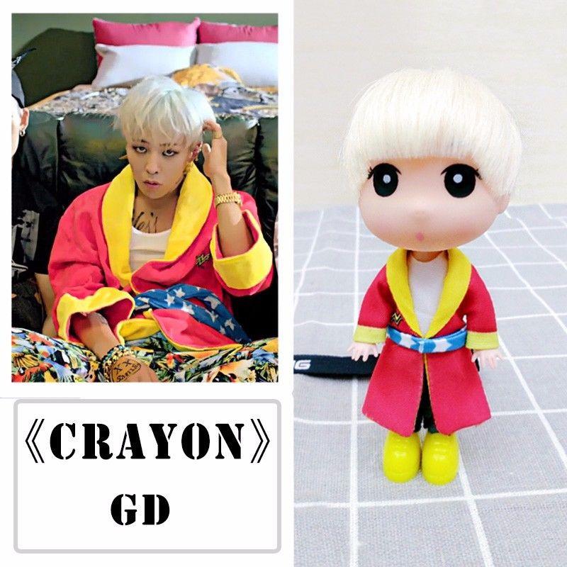 KPOP Bigbang GD G-Dragon Doll Who You Crayon 13cm/5 Figure Toy Handmade Gift Collection new kpop bigbang gd gdragon the same gd is back peaceminusone seoul hand bag