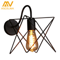 American country Vintage retro lights wall lamps metal pomelo cage lampshade Indoor lighting Bar and restaurant light fixture