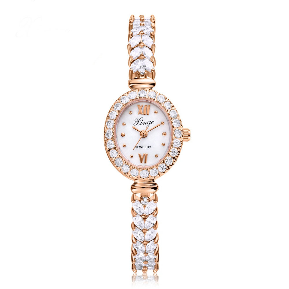 Women Rose Gold Watches Women Crystal Bracelet Quartz Wristwatches Ladies Dress Fashion Wrist Watch Christmas Gift S0198 duoya 2017 fashion ladies watches women luxury leaf fabric gold wrist for women bracelet vintage sport clock watch christmas gif
