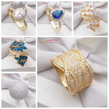 Yunkingdom 6 Styles Gorgeous Full Cubic Zirconia Crystals Rings for Women Gold & Silver Color Fashion Jewelry Wedding