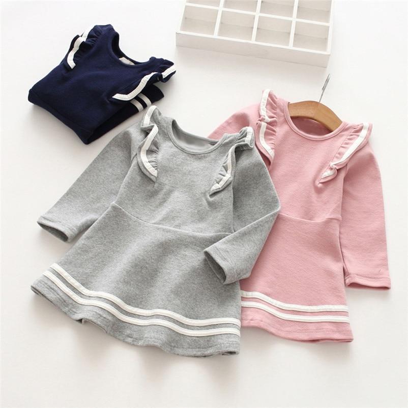 Toddler Kids Dress Baby Girls Party Dress Long Sleeve Solid Stripe Ruffles Party Princess Dresses Children Girl Winter 2018 #30