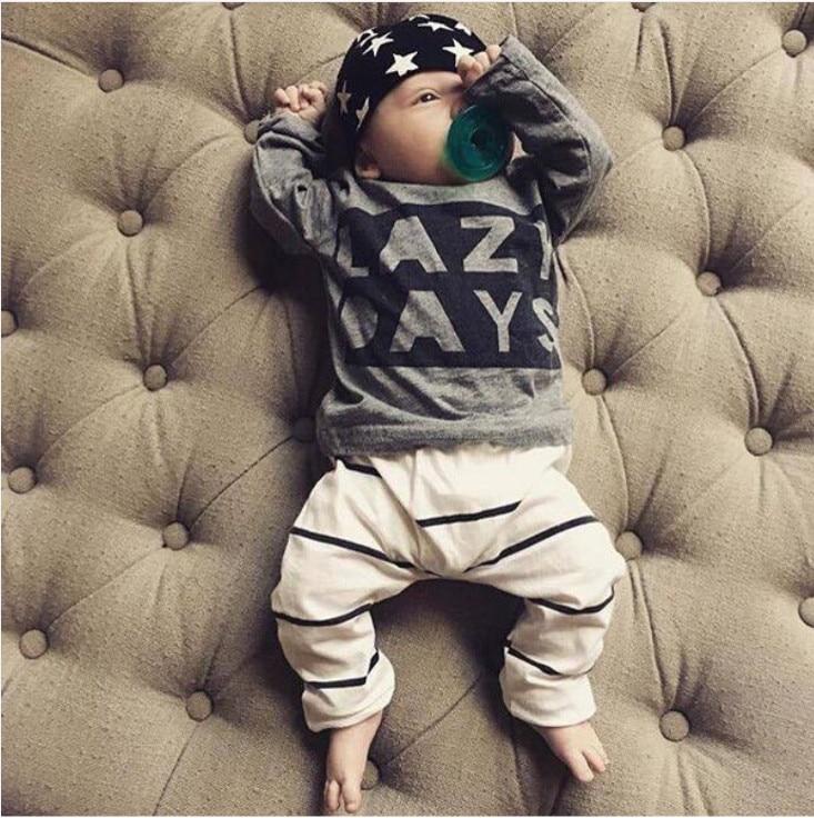2 Stücke Infant Neugeborene Baby-kleidung Set Langarm Brief Faule Tage T-shirt Tops Streifen Hosen Kleinkind Kleidung Outfits Up-To-Date-Styling