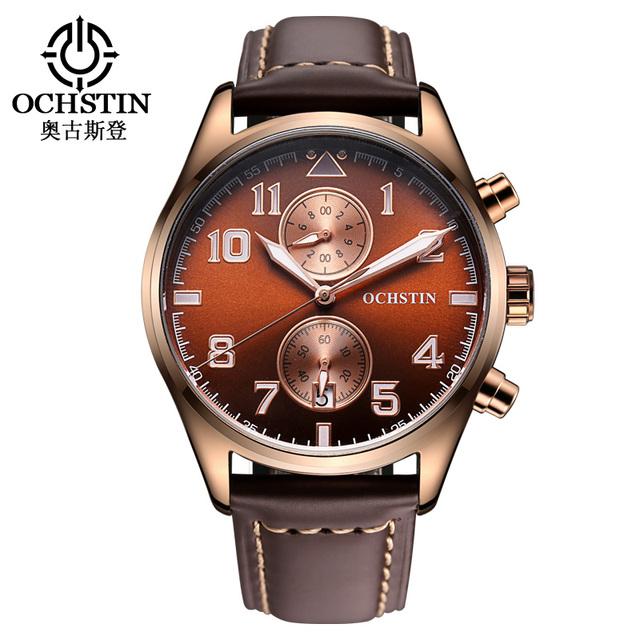 Nova Mens Chronograph Relógios de Couro Marrom Banda dias Caso de Ouro Automático Dos Homens À Prova D' Água Esporte Militar Relógio de Quartzo Reloj Homb