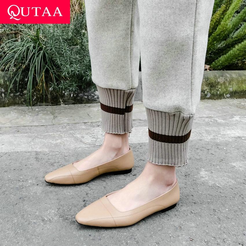 Qutaa 2019 Frauen Flache Kuh Leder Karree Niedrigen Ferse Bequeme Kurze Damen Flachen Einzelnen Schuhe Frühling/herbst Größe 34-40