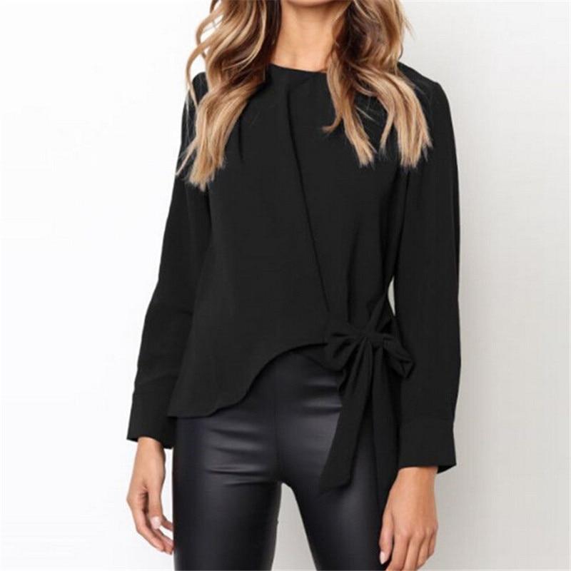 Mode Lange Hülse der Frauen Bowknot Hemd Neue 2018 Damen Reine Farbe Casual Büro Arbeit Bluse Tops Sommer Herbst Lose Bluse