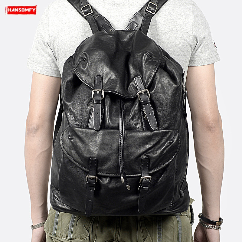 New casual top layer cowhide men s backpack large capacity black soft genuine leather shoulder bag