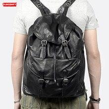 Soft Black Leather Mens Backpack Laptop Bag large capacity Retro Men Travel Backpacks Top Layer Cowhide Male school bag Casual