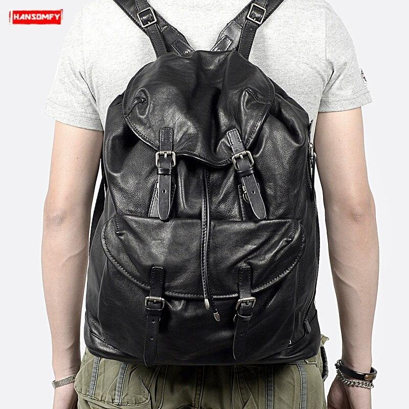 Bagaj ve Çantalar'ten Sırt Çantaları'de Yeni rahat üst katman inek derisi erkek sırt çantası büyük kapasiteli siyah yumuşak hakiki deri omuzdan askili çanta erkek retro seyahat sırt çantaları'da  Grup 1