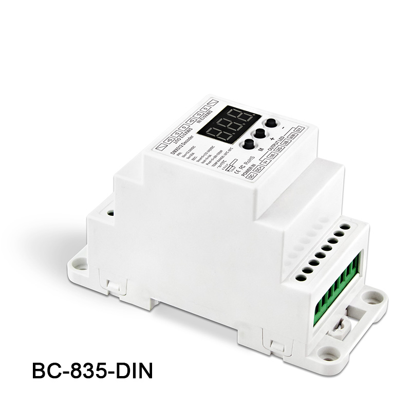 BC-835-DIN DC12-24V input 5A*5CH output, 5CH Constant voltage PWM DMX512/1990 Decoder controller for led strip light lamp kvp 24200 td 24v 200w triac dimmable constant voltage led driver ac90 130v ac170 265v input