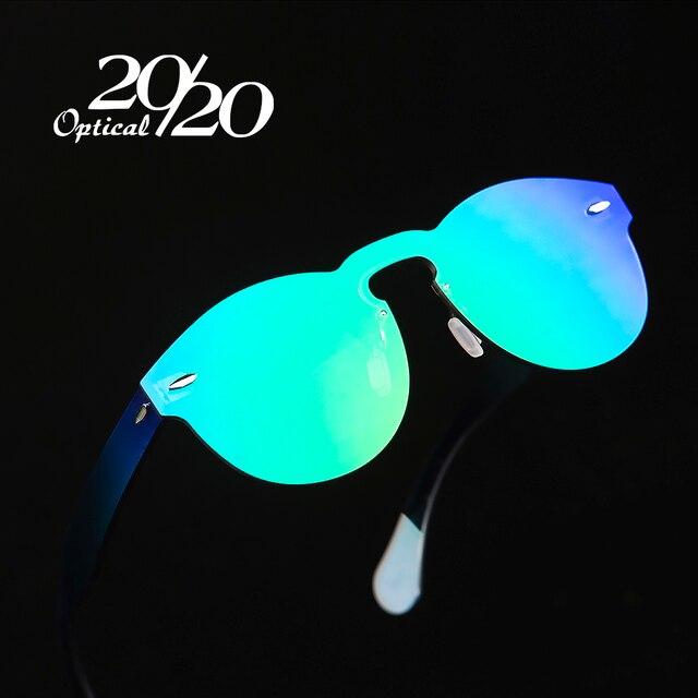 20/20 Brand Designer Sunglasses Women UV400 Retro Female Round Rimless Glasses Travel Men Eyewear Gafas Ocuols PC1602