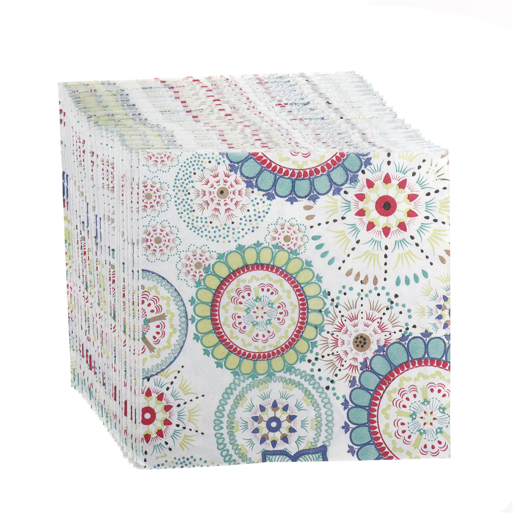 20 Pcs/pack Wedding Napkins Colorful Flowers Napkin Paper 100% Virgin Wood Tissue For Party Wedding Decoration 33x33cm